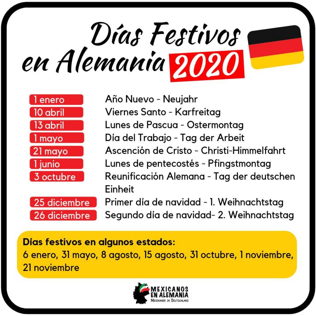 Días Festivos en Alemania 2020