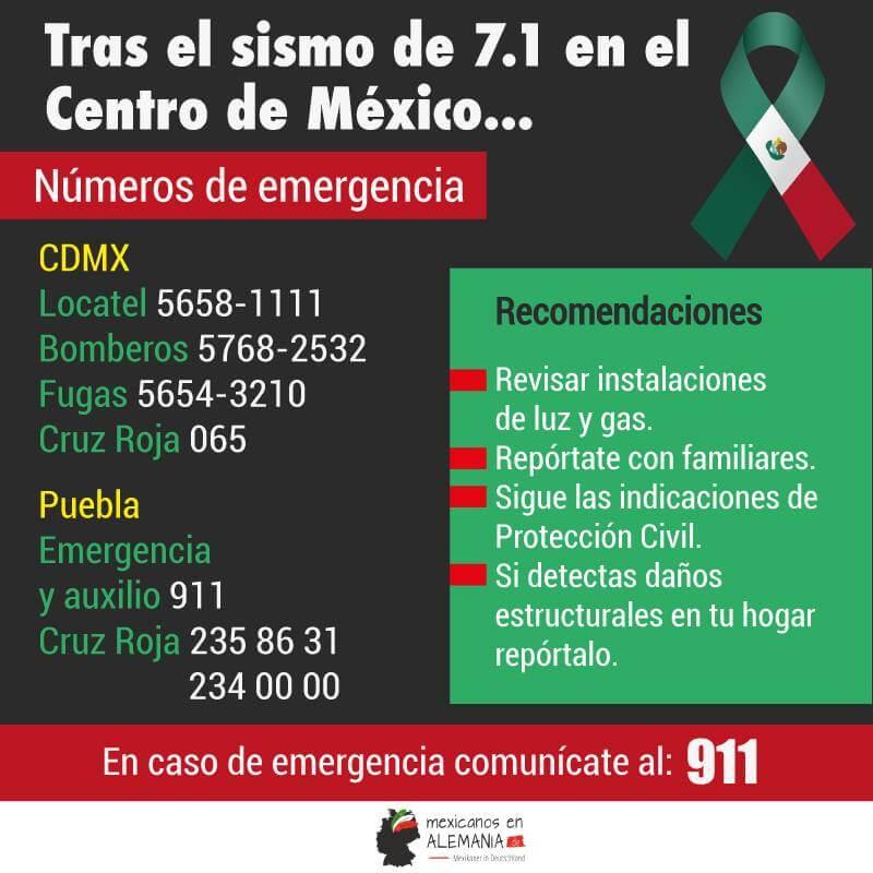 Cómo ayudar a México - números de emergencia