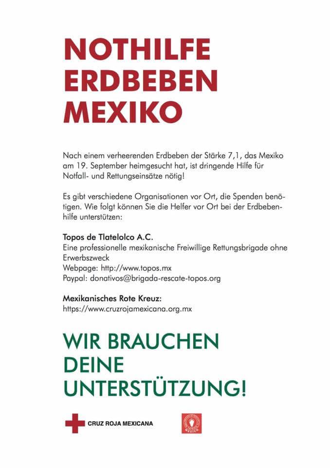 inicitativas en alemania para ayudar a méxico - flyer alemán