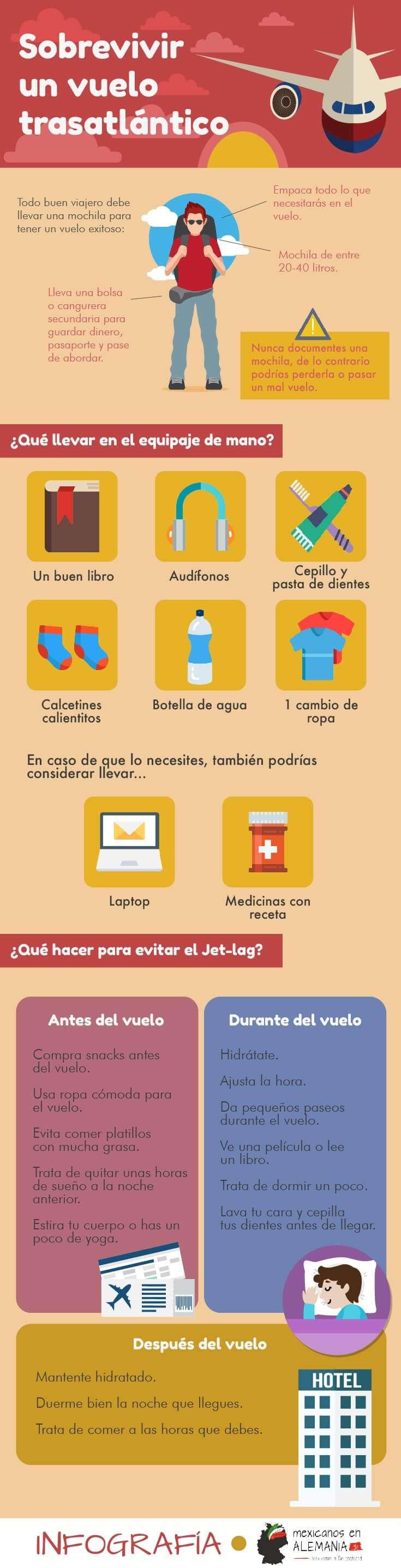 sobrevivir un vuelo transatlántico - infografía
