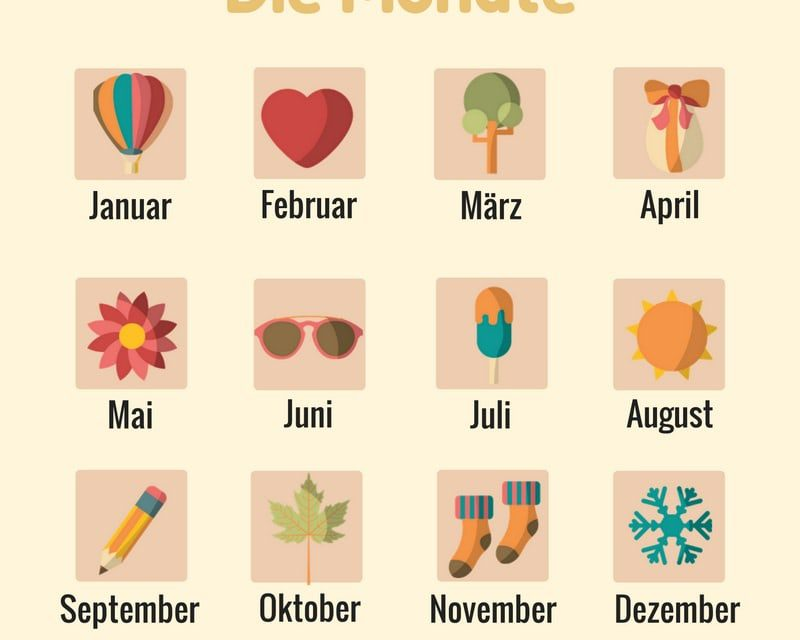 Vocabulario en Alemán: el calendario