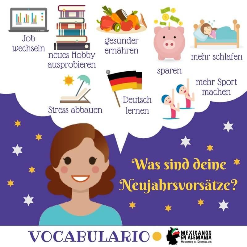 vocabulario en alemán: propósitos de año nuevo